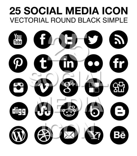 25 social media icon set