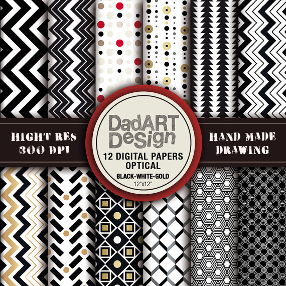 12 Digital papers optical black white gold