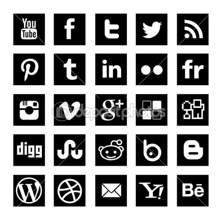 25 Black simple Social-media icons set — Stock Vector © dadartdesign #31320555
