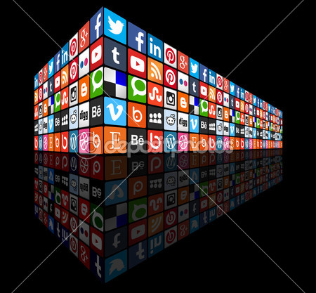 Social media concept wall with dark background — Stock Vector