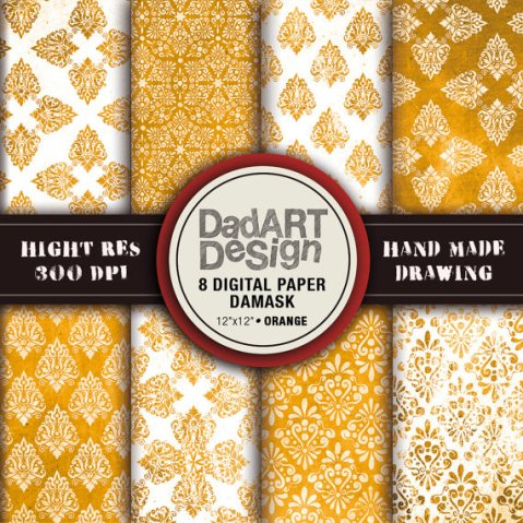 Orange damask vintage patterns 8 sheets digital by DADARTDESIGN