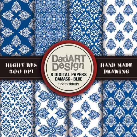 BLUE damask patterns 8 sheets digital paper pack by DADARTDESIGN