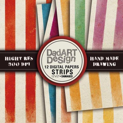 Retro damaged strips patterns digital paper by DADARTDESIGN