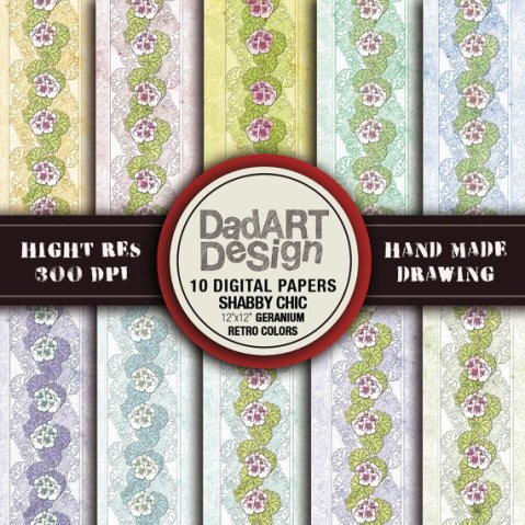 Retro shabby chic floral digital papers 02 by DADARTDESIGN
