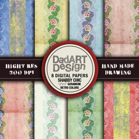Retro shabby chic floral digital papers vintage by DADARTDESIGN