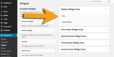 Figure 5 - Drag and drop Text widget in to Sidebar widget area box to activate it