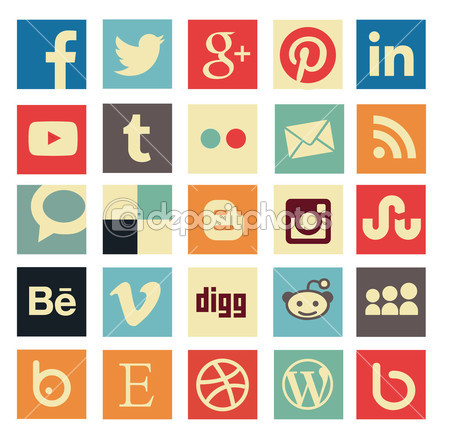 Simple social media icon retro style — Stock Vector © Marco Spadoni #39134691