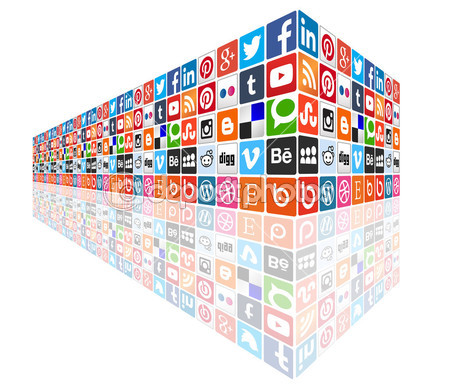 Social media concept wall — Stock Vector © dadartdesign #39566021