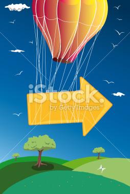 balloon flying with arrow stock vector art 30812842 - iStock