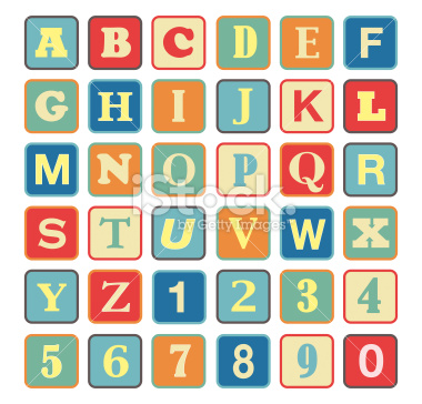 Retro block Alphabet with vintage colors and letters stock vector art 34029820 - iStock