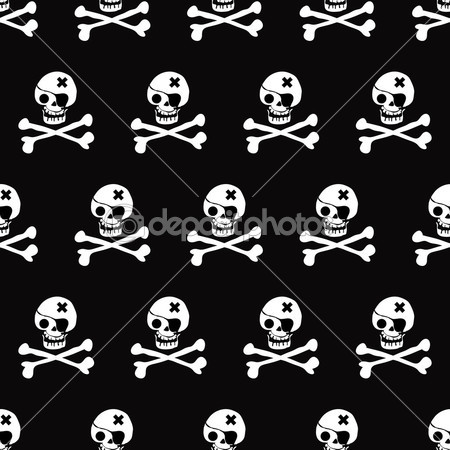 Vector Skulls seamless Pattern Monochrome Black And White — Stock Vector © dadartdesign #32919677