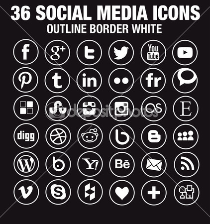36 Social media icons - new version - circle white outline borders — Stock Vector © Marco Spadoni #45746039