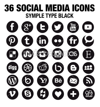36 Round Social Media Icons Round Vector Black