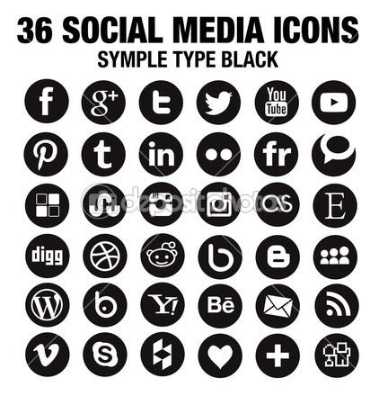 36 Round Social Media Icons Round Vector Black