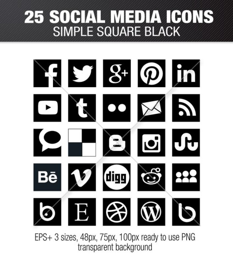 Simple social media square black icons – Social Media Icons