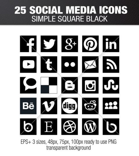 Simple social media square black icons – Social Media Icons