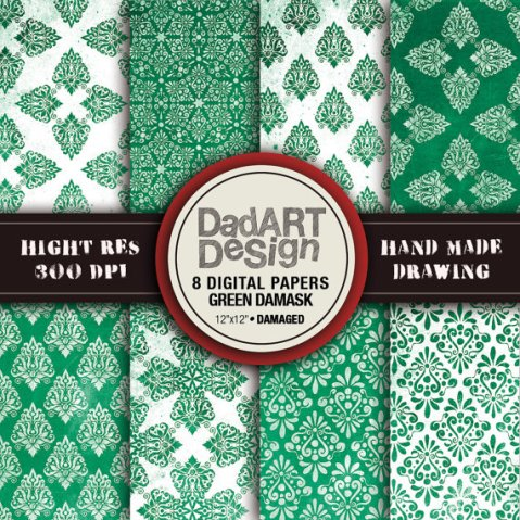 Green damask vintage patterns distressed surface 8 by DADARTDESIGN