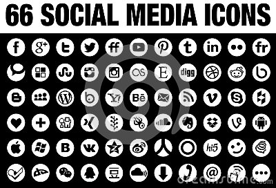 66 round social media icons