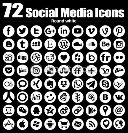 72 new Round social media icons – Vector, Black and white