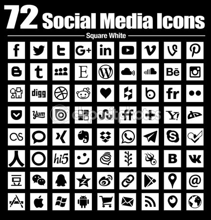 Square Social Media Icons - Vector Collection Stock Download