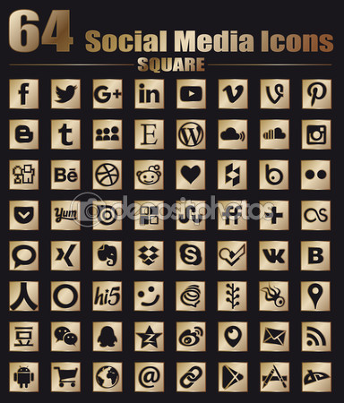 64 Square Gold Social Media Icons - Hight Quality Vector stock collection — Stock Vector #102241132
