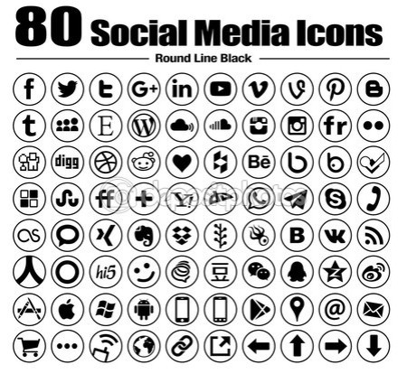 80 new Line circle social media icons — Stock Photo #82779882
