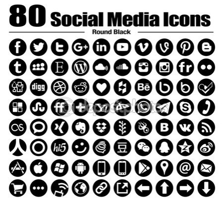 80 new Round social media icons — Stock Photo #82780066