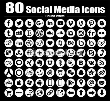 80 new Circle social media icons — Stock Photo #82780068