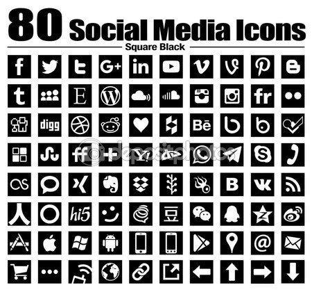 80 new Square social media icons — Stock Photo #82780126