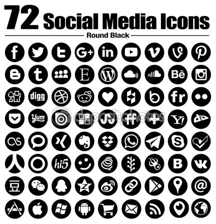 72 new Round social media icons - Vector, Black and white, transparent background - the must have complete circle icon set — Stock Vector #90709668