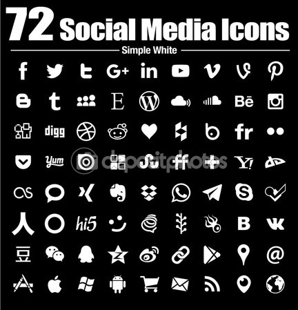 72 social media icons new simple Flat - Vector, Black and white, transparent background — Stock Vector #90710062