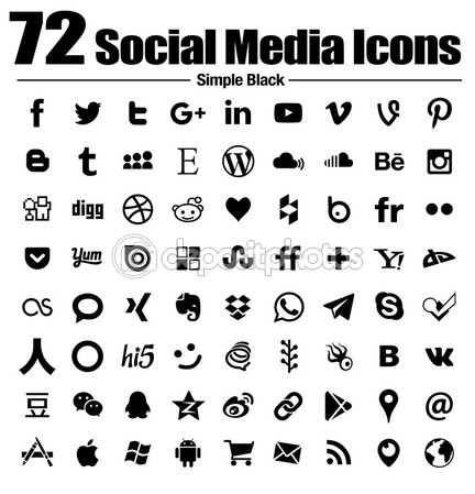 72 social media icons new simple Flat - Vector, Black and white, transparent background - the base collection with new last popular social logos — Stock Vector #90710386