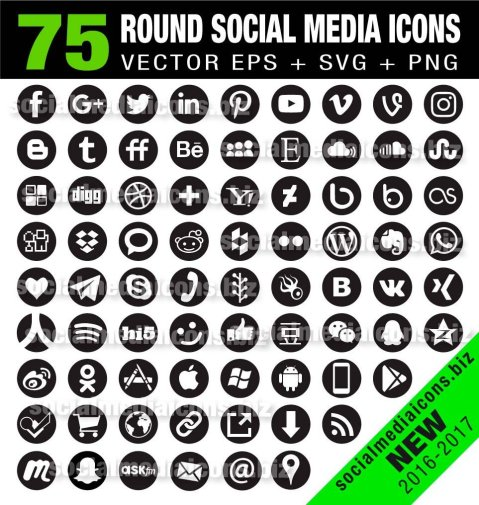 75 round social media icons
