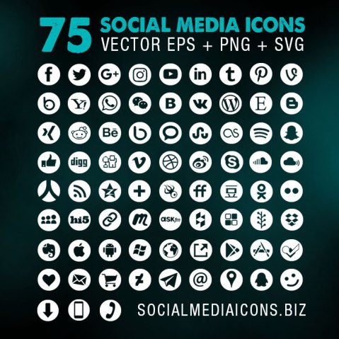 Round Social Media Icons - Vector White